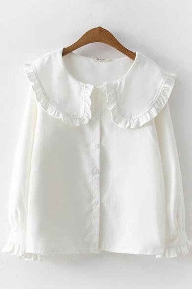 Vintage Womens Shirt Plain Stringy Selvedge Trim Peter Pan Collar Button Detail Loose Fit Long Sleeve Shirt
