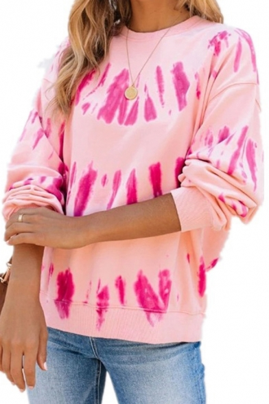 Women's Tee Top Tie Dye Pattern Round Neck Long Sleeves Fitted T-Shirt