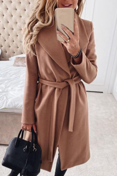 Womens Coat Chic Solid Color Tie-Waist Cardigan Notched Lapel Collar Loose Fit Long Sleeve Woolen Coat