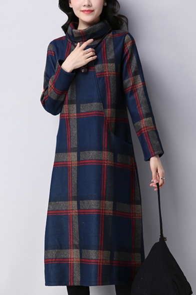 Basic Women's Swing Dress Plaid Pattern Brushed Contrast Panel Side Pockets Turtleneck Long-sleeved Relaxed Fitted Swing Dress