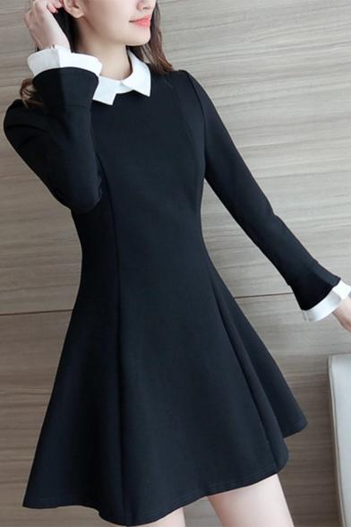 Fancy Style Color Block Contrast Lapel Mini Shift Dress