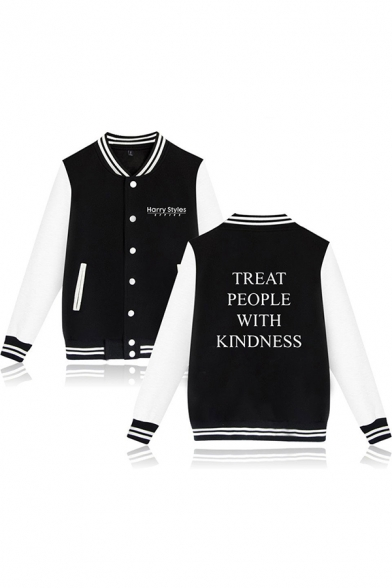 Popular Letter TREAT PEOPLE WITH KINDNESS Print Button Up Color Block Baseball Jacket