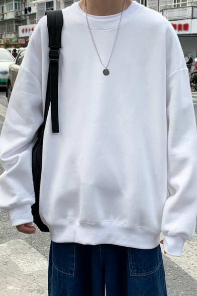 Vintage Mens Sweatshirt Solid Color Non-Ironing Round Neck Long Sleeve Loose Fit Pullover Sweatshirt