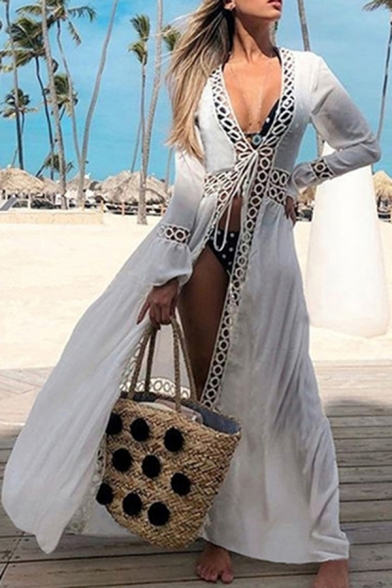 White Chic Womens Cardigan Circle Cutouts V-Neck Full Flared Cuff Sleeve Loose Cotton Cardigan