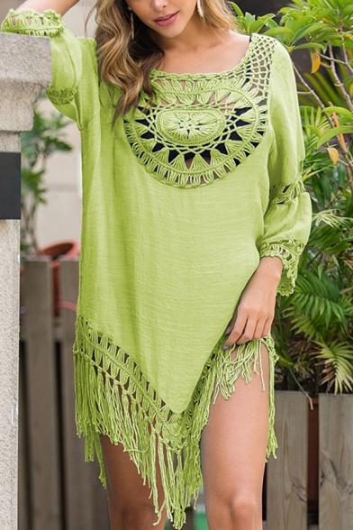 Womens Beach Asymmetrical Dress Crocheted Floral Hollowed Tassel Half-Sleeve Round Neck Loose Mini Dress