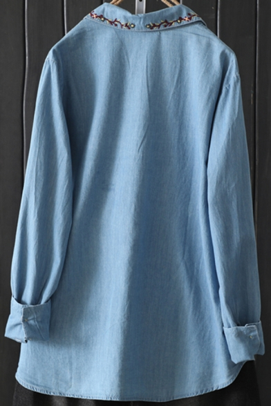 Tribal Style Women's Blouse Flower Embroidery Collared Button-down Long Sleeves Linen and Cotton Blouse
