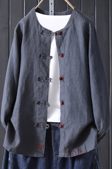 Vintage Women's Blouse Solid Color Button-down Collarless Long-sleeved Regular Fit Cotton Blouse
