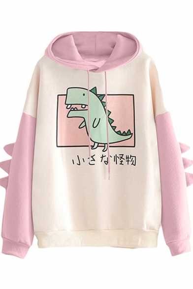Womens Hoodie Simple Color Block Dinosaur Japanese Letter Pattern Drawstring Long Sleeve Relaxed Fitted Hoodie