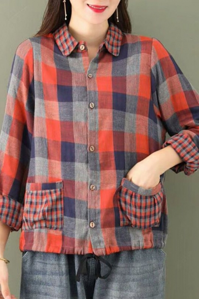 Womens Shirt Trendy Checkered Pattern Front Double Pocket Drawstring Hem Turn-down Collar Button Detail Loose Fitted Long Sleeve Shirt