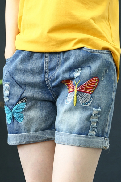 Womens Shorts Fashionable Butterfly Embroidery Ripped Rolled Cuffs Drawstring Waist Regular Fitted Denim Shorts