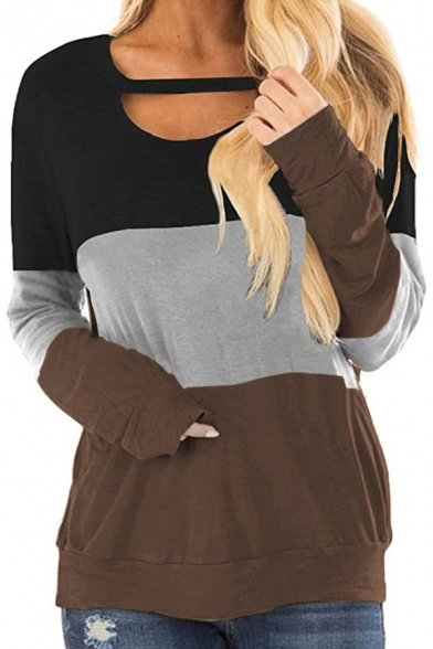 All-Match Color Block Hollow out Keyhole Neck Long Sleeves T-Shirt for Women