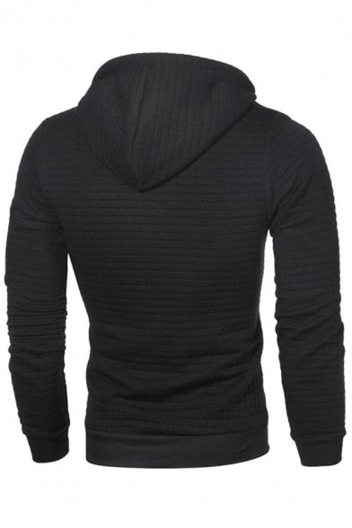 Classic Mens Hoodie Lattice Jacquard Arm Zipper Detail Drawstring Slim Fitted Long Sleeve Hoodie