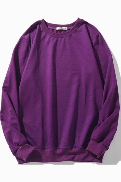 Cool Mens Sweatshirt Plain Ribbed Trim Loose Fit Long Sleeve Crew Neck Pullover Sweatshirt