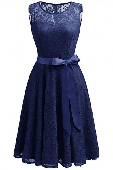 Elegant Floral Lace Panel Bow Belted Plain Patchwork Midi Fit & Flare Dress