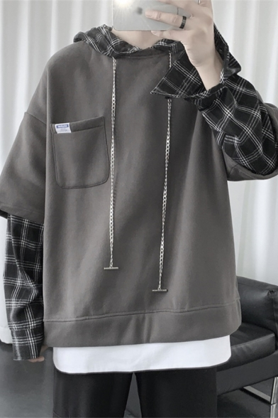 Mens Sweatshirt Simple Plaid Patchwork False Two Pieces Chest Pocket Drawstring Long Sleeve Relaxed Fitted Hoodie