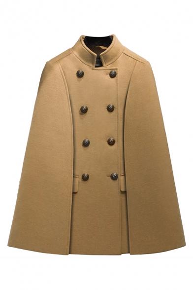 New Stylish Turtleneck Double-Breasted Plain Poncho Coat