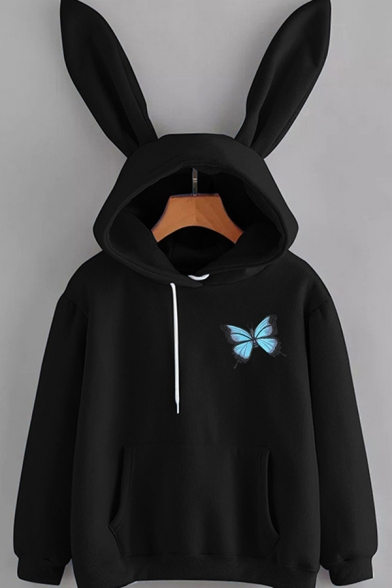 Womens Hoodie Fashionable Butterfly Pattern Kangaroo Pocket Rabbit Ear Drawstring Long Sleeve Relaxed Fitted Hoodie