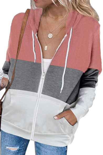 Leisure Women's Hoodie Zipper Placket Drawstring Front Pockets Long Sleeve Fitted Hoodie