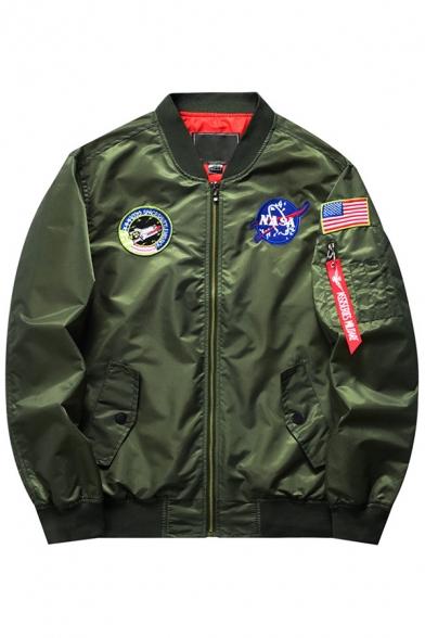 Unisex Trendy Letter Badge Detail Zip-up Bomber Jacket