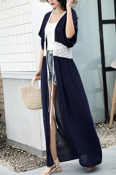 Womens Boho Chic Cardigan Sheer Hollowed Waist Drawstring Short Sleeve Long Cardigan Dress