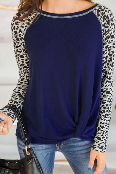 Fashion Women's T-Shirt Leopard Printed Patchwork Contrast Trim Twist Front Crew Neck Long Sleeves Regular Fit Tee Top
