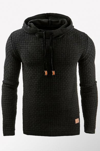 Mens Hoodie Simple Plain Lattice Pattern Drawstring Long Sleeve Slim Fit Hooded Sweatshirt
