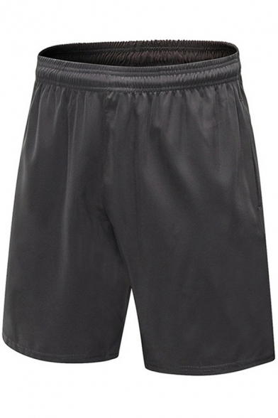 Mens Shorts Creative Solid Color Breathable Quick-Dry Regular Fitted Straight Sport Shorts