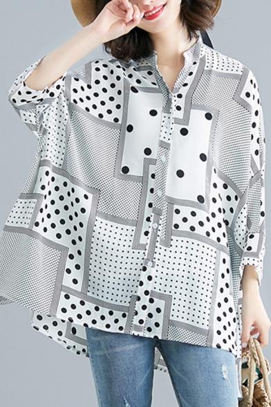 Trendy Womens Chiffon Shirt Polka Dot Patchwork Button High Low Long Batwing Sleeve Loose Collared Shirt