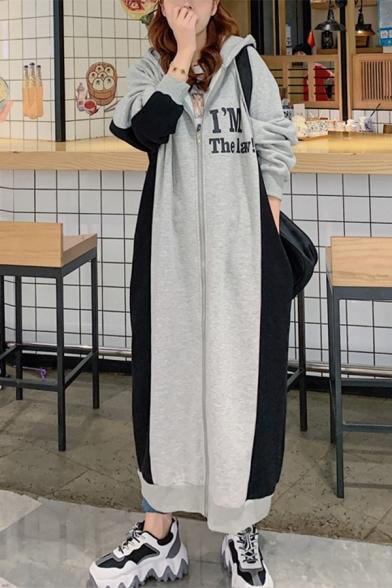 Womens Fashion Hoodie Long Sleeve Letter Print Color Block Zip Shift Sweatshirt Maxi Dress