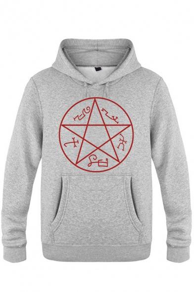 Womens Hoodie Casual Pentagram Print Kangaroo Pocket Drawstring Long Sleeve Regular Fitted Hooded Sweatshirt