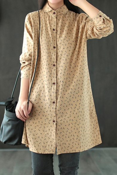 Basic Womens Shirt Ditsy Floral Pattern Cotton Button up Spread Collar Tunic Long Sleeve Loose Fit Shirt