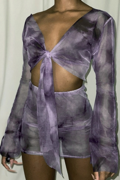 Classic Womens Co-ords Tie Dye Tie-Front See-through Mesh Deep V Neck Long Sleeve Cropped Tee Mini Skirt Slim Fitted Co-ords
