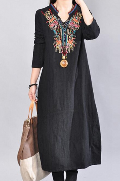 Nice Midi Dress Plain Tribal Embroidered Chest Notched Neck Long Sleeve Loose Swing Dress for Women