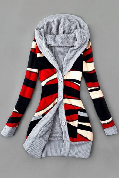 Classic Womens Cardigan Color Block Stripe Pattern Thickened Button Fly Mid-Length Long Sleeve Slim Fitted Hooded Cardigan