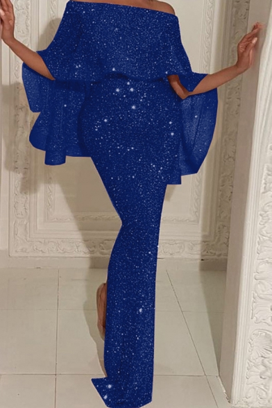 Party Women's Dress Sparkly Glitter Backside Slit Solid Color off the Shoulder Slim Fitted Long Gown Dress