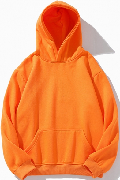 Retro Mens Sweatshirt Plain Drawstring Thick Long Sleeve Relaxed Fitted Hoodie with Kangaroo Pocket