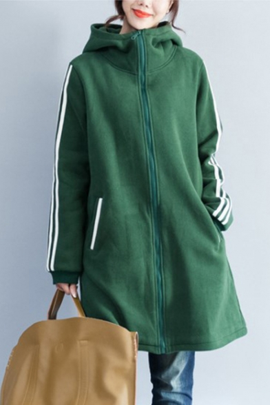 Sporty Women's Hooded Coat Three-Stripe Pattern Contrast Trim Side Pockets Zip Fly Mock Neck Long-sleeved Relaxed Fitted Hooded Coat