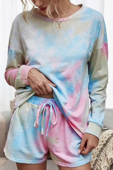 Unique Womens Sweatshirt Sets Colorblocking Drawstring Pocket Long Sleeve Round Neck Fitted Co-ords