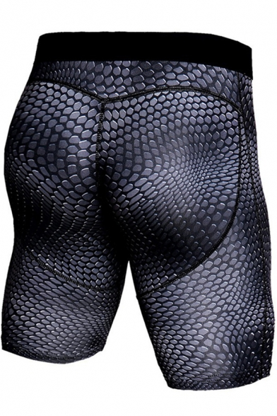 Classic Mens Shorts 3D Geometric Print Topstitching Skinny Fitted Stretch Quick-Dry Sport Shorts