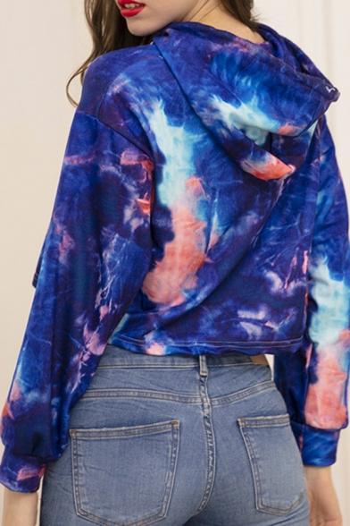 Novelty Womens Hooded Sweatshirt Tie Dye Drawstring Cropped Long Sleeve Regular Fit Hooded Sweatshirt