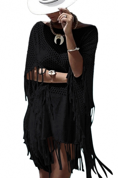 Stylish Womens Knitwear Blouse Crochet Hollowed Tassel Round Neck Half Sleeve Thigh-Length Pullover