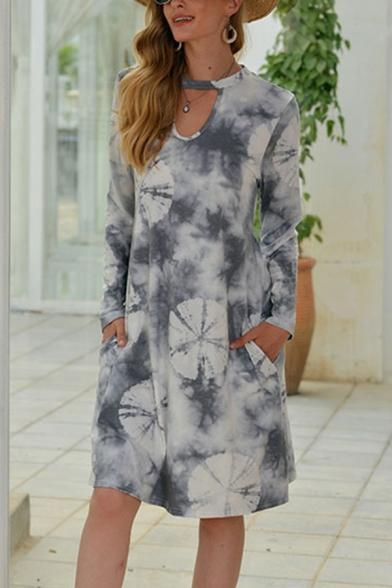 Womens Casual Knee Length Dress Tie Dye Lotus Leaf Print Pocket Cutouts Crew Neck Long Sleeve Swing Dress