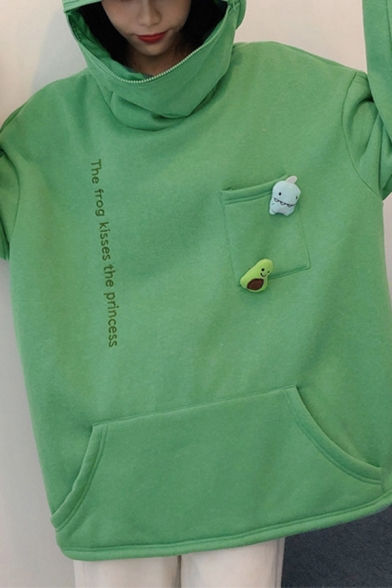 Womens Hoodie Stylish Letter Pattern Thickened Cosplay Frog Kangaroo Pocket Long Sleeve Relaxed Fitted Hooded Sweatshirt