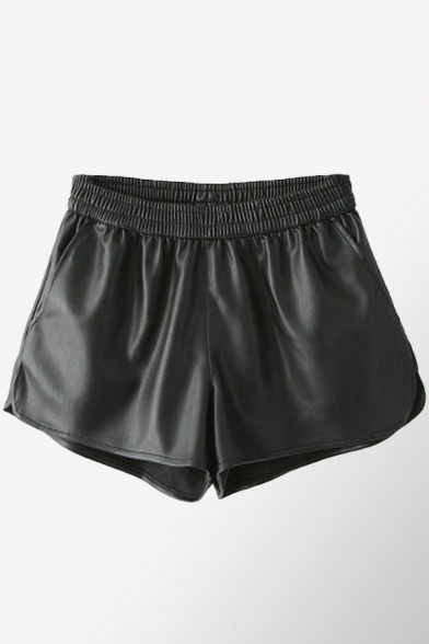Womens Shorts Fashionable Solid Color Leather Split Hem A-Line Elastic Waist Regular Fitted PU Shorts