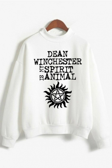 Womens Sweatshirt Chic Supernatural Symbol Wing Deer Squirrel Print Long Sleeve Relaxed Fit Crew Neck Graphic Pullover Sweatshirt