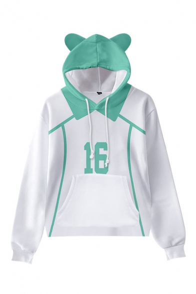 Classic Womens Hoodie Colorblock Number Print Cat Ear Drawstring Long Sleeve Relaxed Fitted Hoodie with Kangaroo Pocket