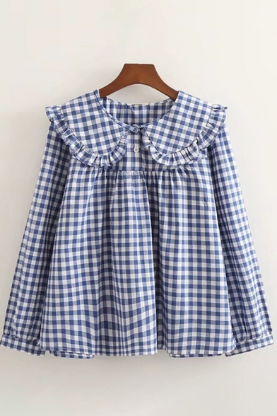 Basic Womens Shirt Plain Checkered Print Stringy Selvedge Peter Pan Collar Button Detail Slim Fitted Long Sleeve Shirt