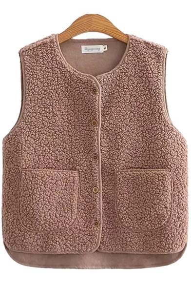 Creative Womens Vest Solid Color Sherpa Thickened Front Double-Pocket Button up V Neck Sleeveless Regular Fit Vest