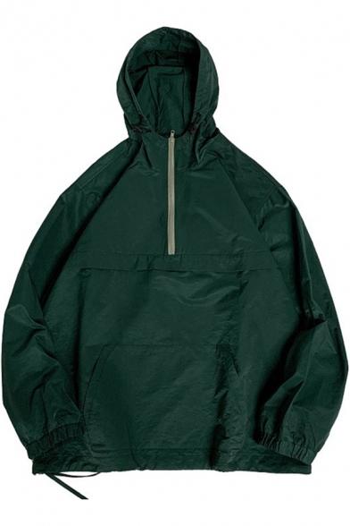 Retro Mens Cargo Sweatshirt Zipper Embellished Bungee-Style Drawstring Kangaroo Pocket Loose Fit Long Sleeve Hooded Sweatshirt
