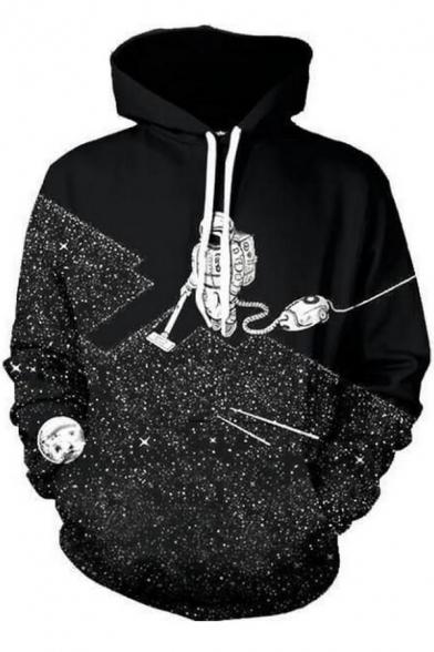 Unisex Drawstring Hooded Outer Space 3D Printed Color Block Hoodie Sweatshirt